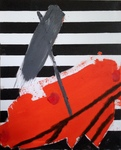 "BLACK STRIPES & ORANGE,20""x16"",OilCan,2017"