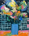 "FLOWER IN BLUE VASE, 18""x16"", Acrylic, 2019"